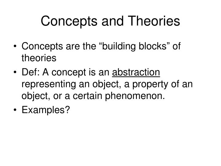 Concepts and Theories