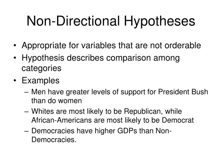 Non-Directional Hypotheses