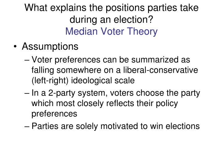 What explains the positions parties take during an election?