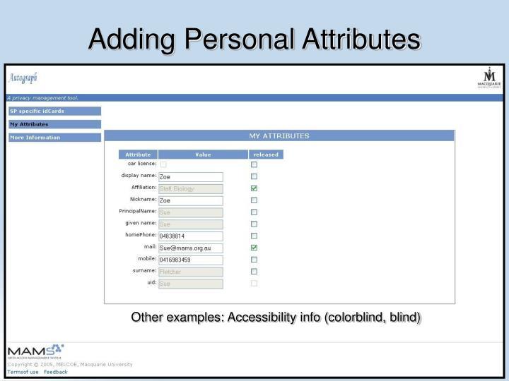 Adding Personal Attributes