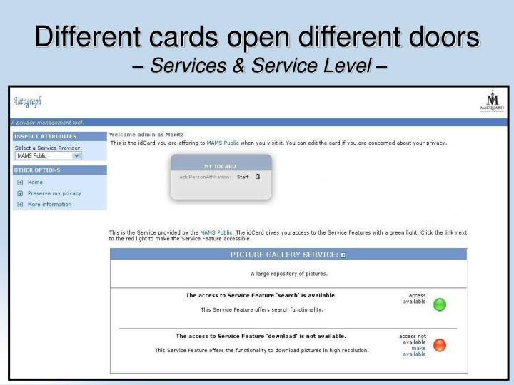 Different cards open different doors