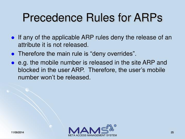 Precedence Rules for ARPs