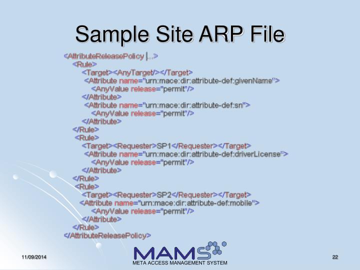 Sample Site ARP File