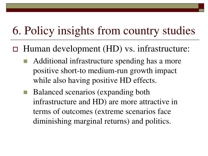 6. Policy insights from country studies