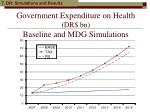 government expenditure on health dr bn baseline and mdg simulations