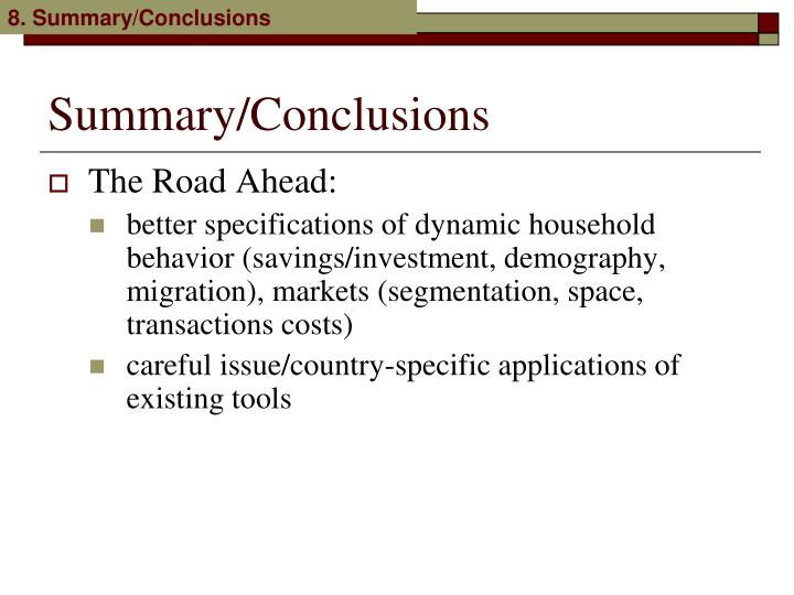 8. Summary/Conclusions