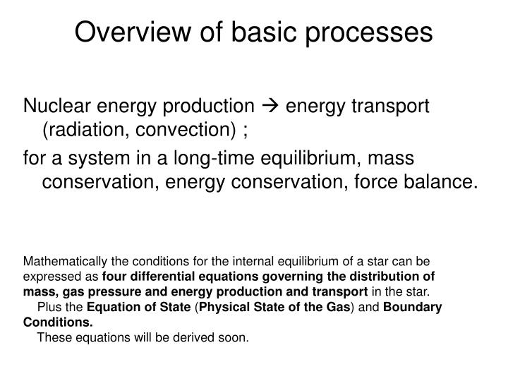 Overview of basic processes