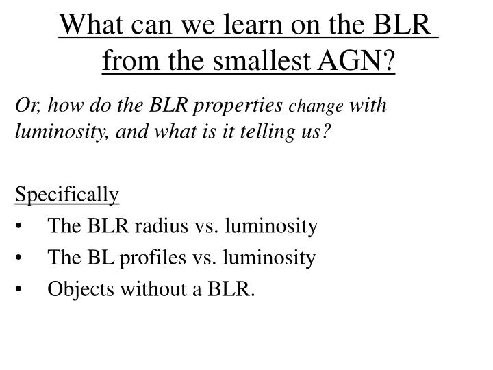 What can we learn on the blr from the smallest agn