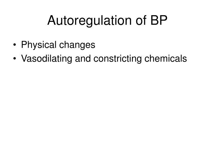 Autoregulation of BP