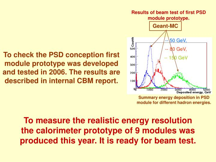 Results of beam test of first PSD module prototype.