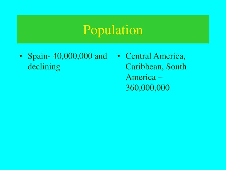 Spain- 40,000,000 and declining