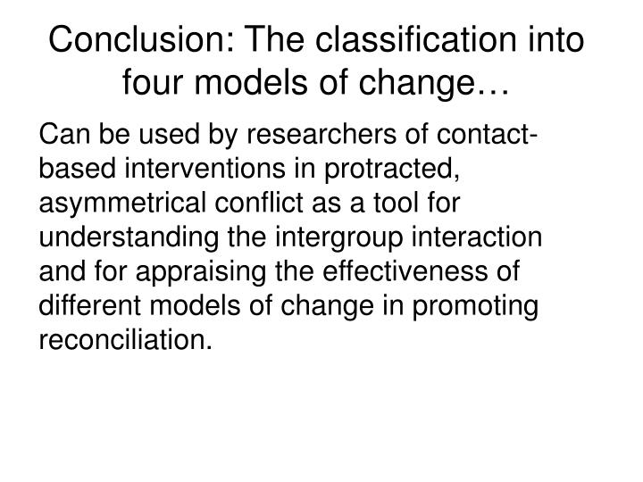 Conclusion: The classification into four models of change…
