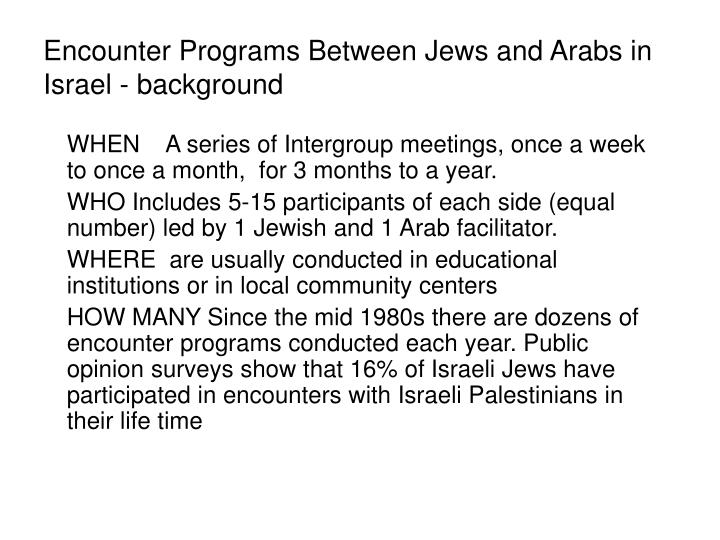 Encounter programs between jews and arabs in israel background