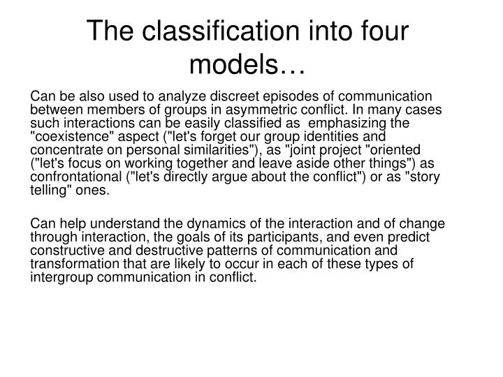 The classification into four models…