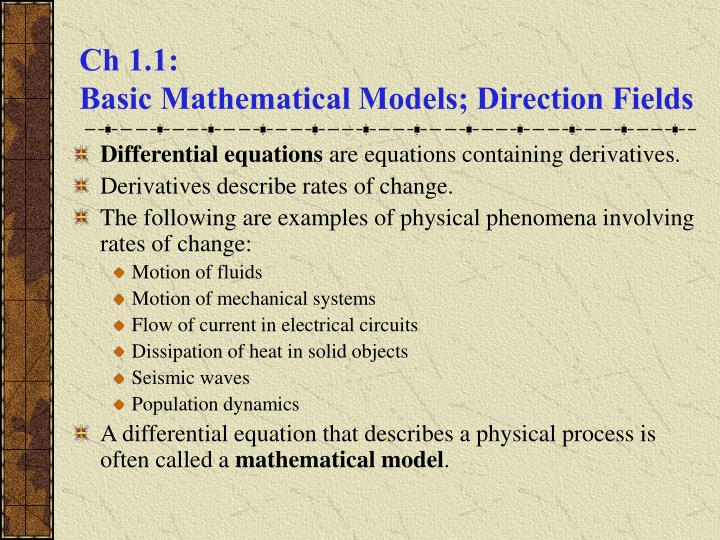 Ch 1 1 basic mathematical models direction fields