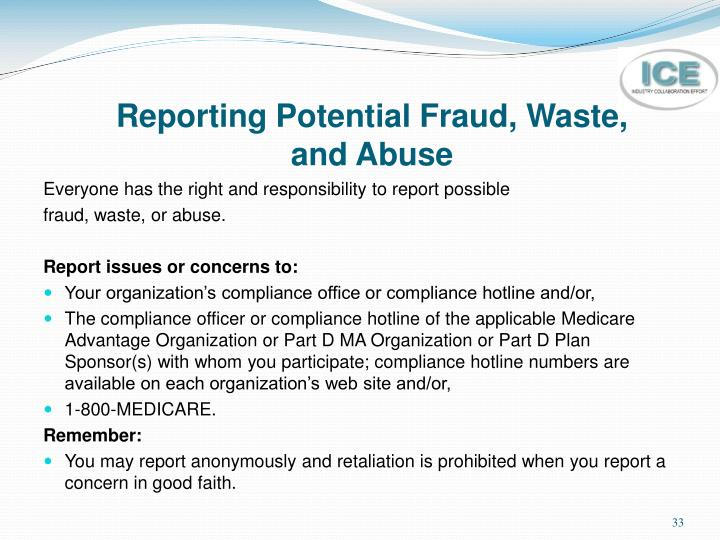 Reporting Potential Fraud, Waste,