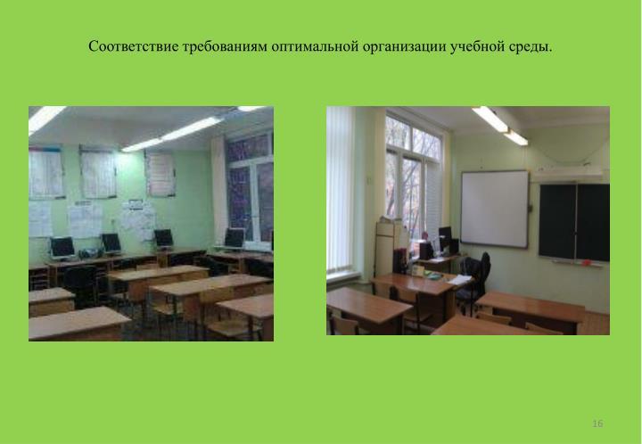 Соответствие требованиям оптимальной организации учебной среды.