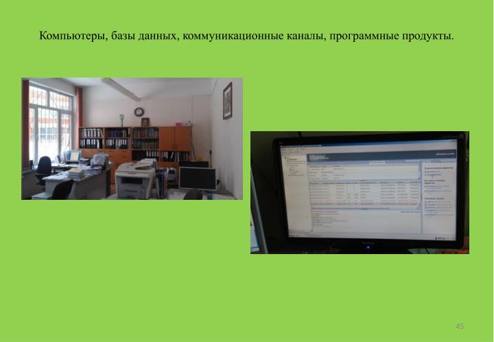 Компьютеры, базы данных, коммуникационные каналы, программные продукты.