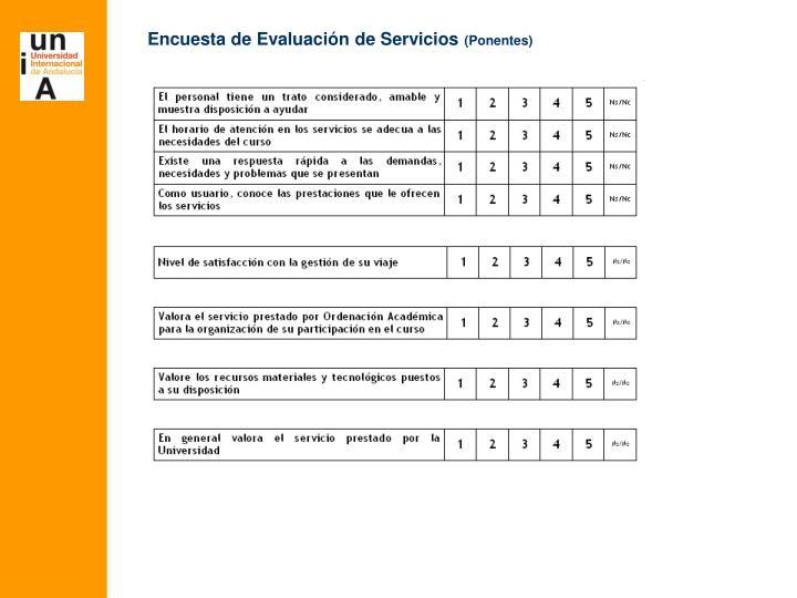 Encuesta de Evaluación de Servicios
