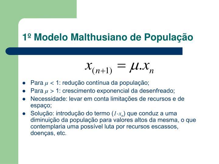 1º Modelo Malthusiano de População