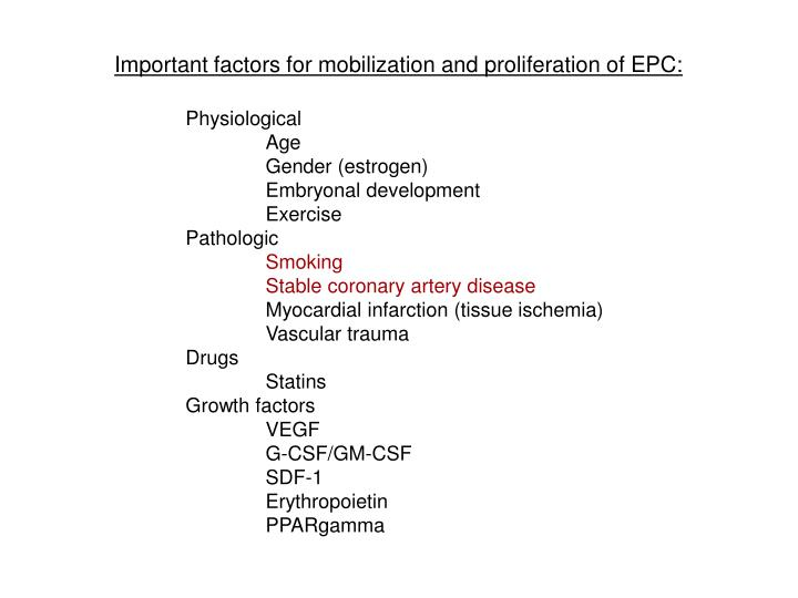 Important factors for mobilization and proliferation of EPC: