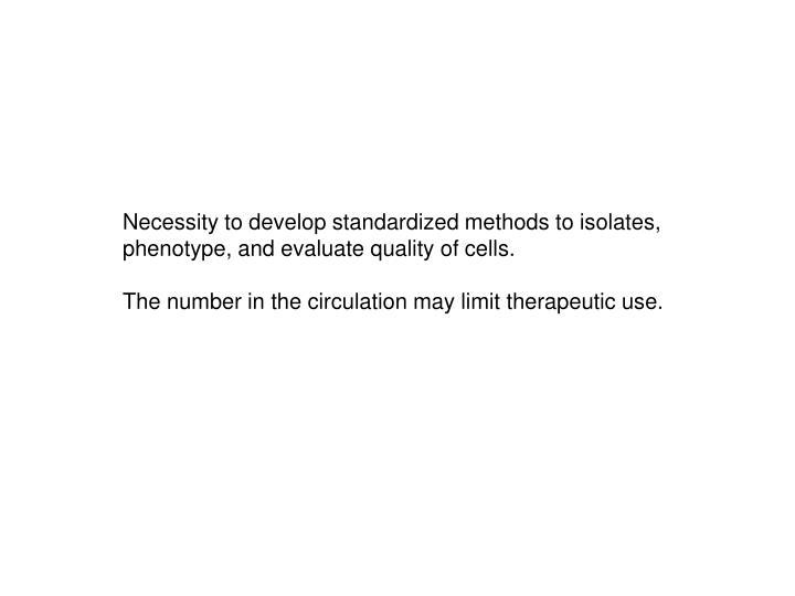 Necessity to develop standardized methods to isolates,