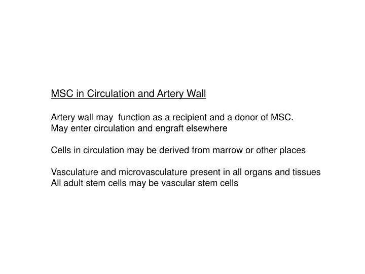 MSC in Circulation and Artery Wall