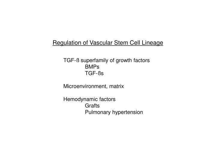 Regulation of Vascular Stem Cell Lineage