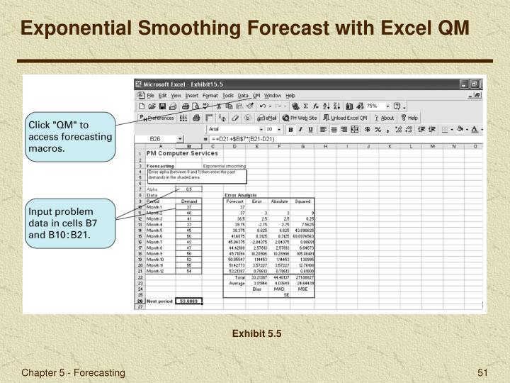 Exponential Smoothing Forecast with Excel QM