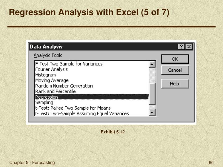 Regression Analysis with Excel (5 of 7)