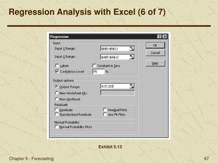 Regression Analysis with Excel (6 of 7)