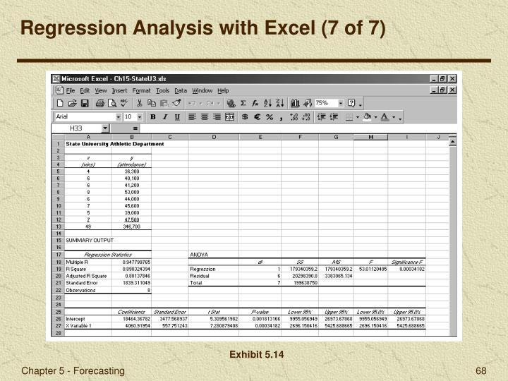 Regression Analysis with Excel (7 of 7)