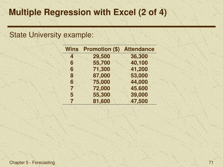 Multiple Regression with Excel (2 of 4)