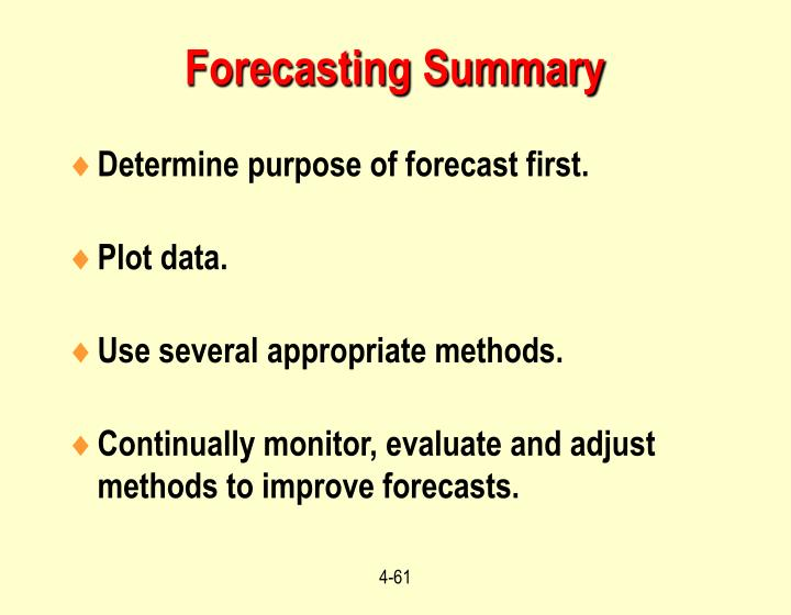 Forecasting Summary