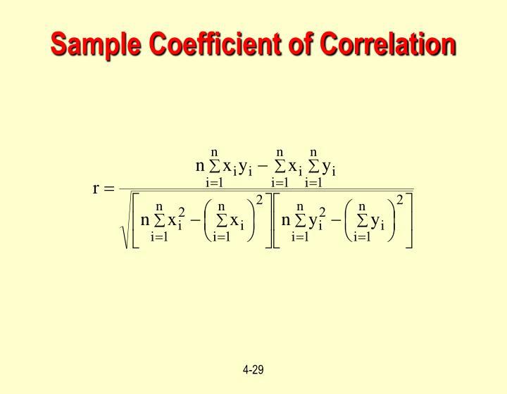 Sample Coefficient of Correlation