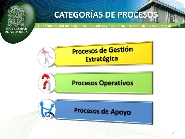CATEGORÍAS DE PROCESOS