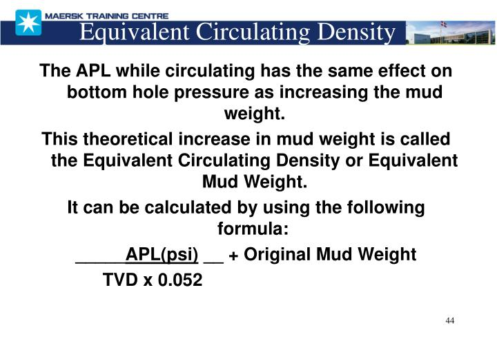 The APL while circulating has the same effect on bottom hole pressure as increasing the mud weight.