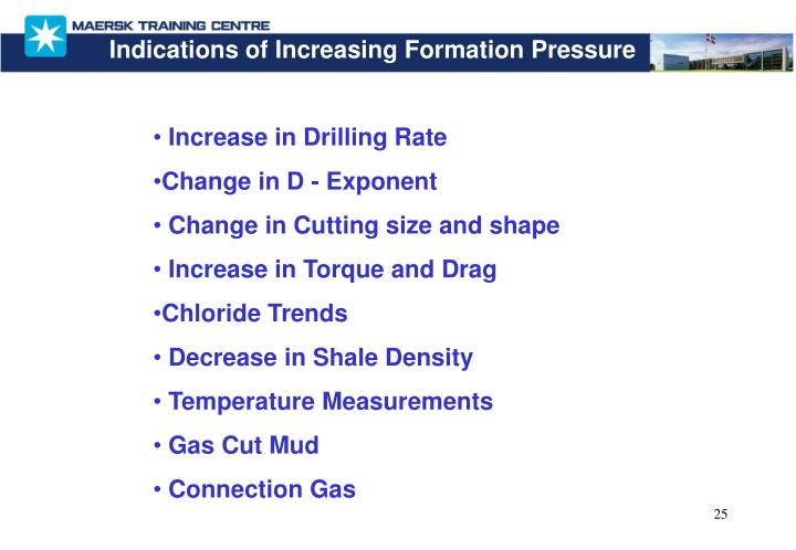 Indications of Increasing Formation Pressure