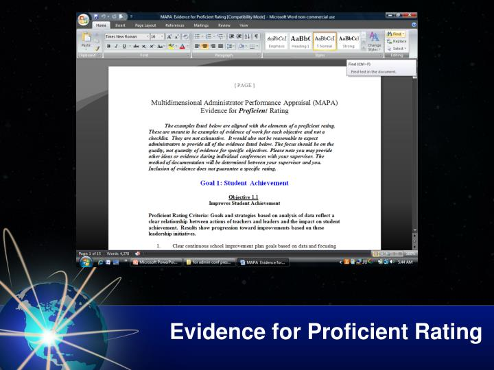 Evidence for Proficient Rating