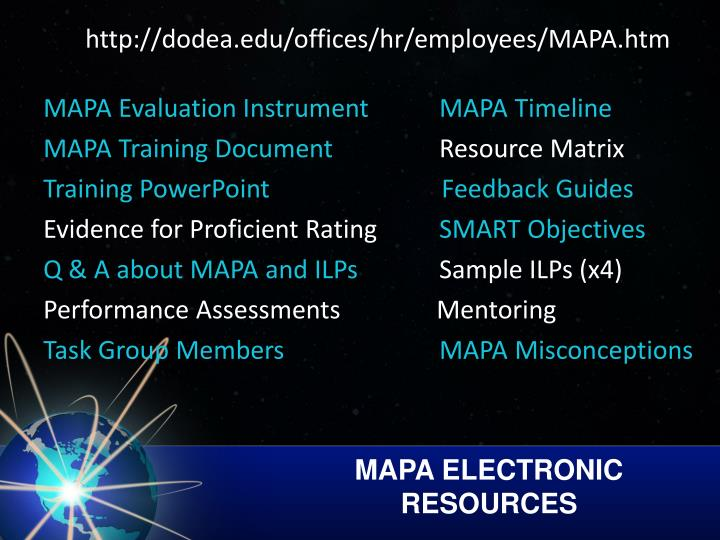 MAPA ELECTRONIC RESOURCES