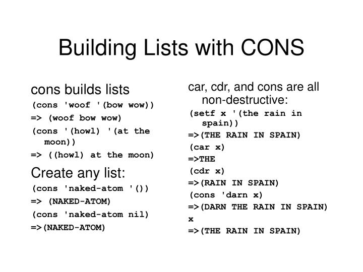 cons builds lists