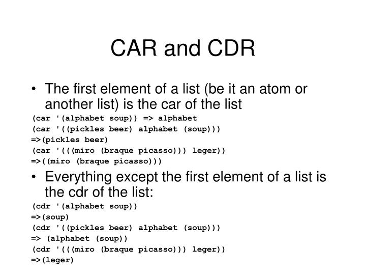 CAR and CDR