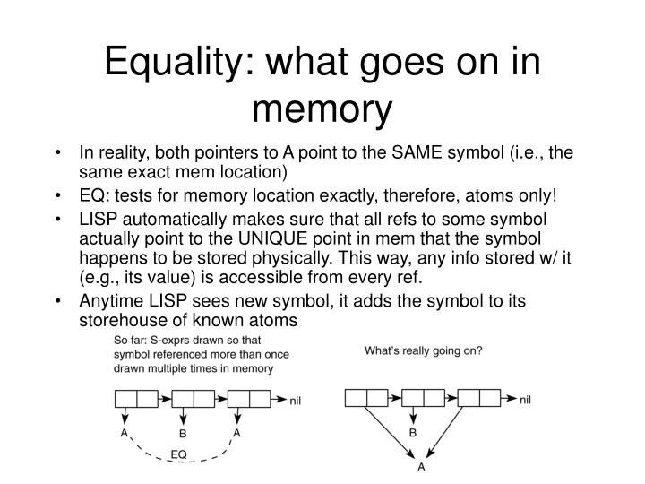 Equality: what goes on in memory