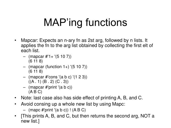 MAP'ing functions