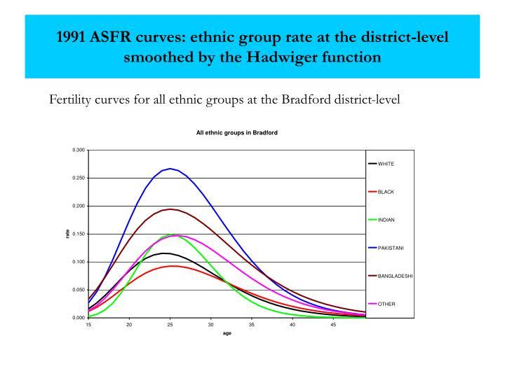 1991 ASFR curves: ethnic group rate at the district-level smoothed by the Hadwiger function