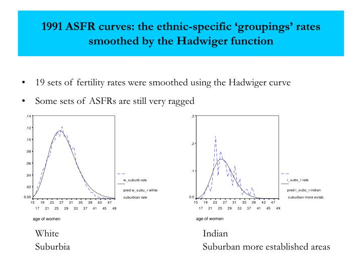 1991 ASFR curves: the ethnic-specific 'groupings' rates smoothed by the Hadwiger function