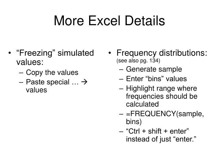 """""""Freezing"""" simulated values:"""