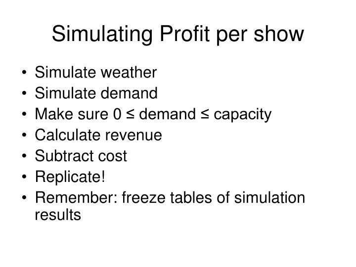 Simulating Profit per show