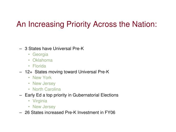 An Increasing Priority Across the Nation: