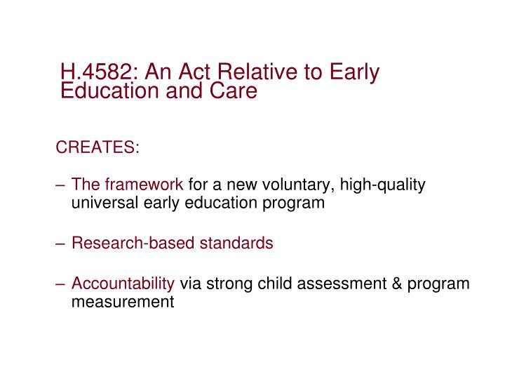 H.4582: An Act Relative to Early Education and Care